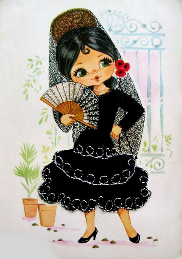 Днем рождения, открытка с фламенко