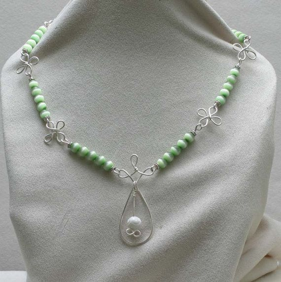 Wire Wrapped and Green Tiger Eye's beads with a by BeccsCreations, $48.00