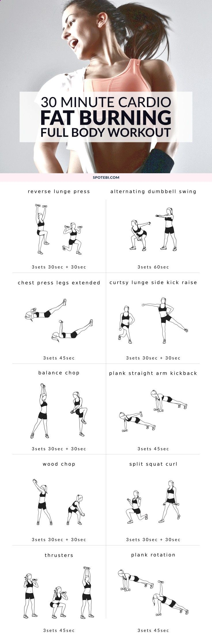 Burn extra calories with this 30-minute full body fat burning workout routine. A set of 10 compound movements to strengthen your heart and lungs, boost your metabolism and tighten your body. www.spotebi.stfi....