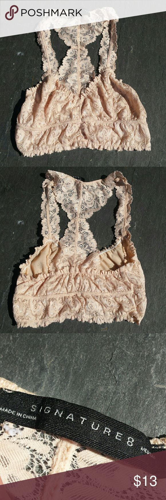 Racer back Bralette Only worn once and in excellent condition.   -Color: Blush Intimates & Sleepwear Bandeaus