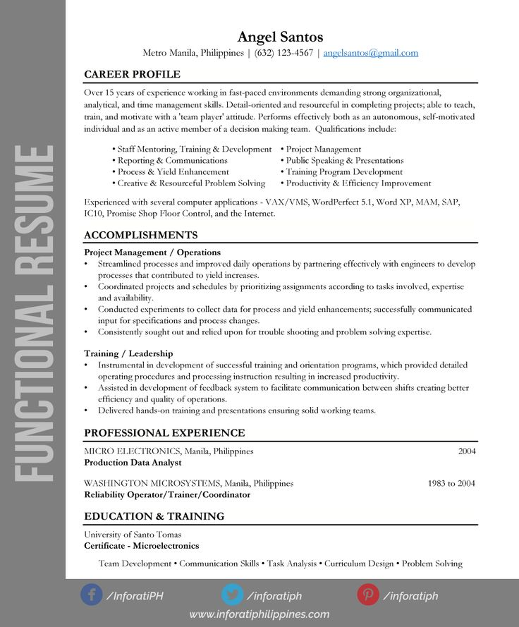 71 best Functional Resumes images on Pinterest Resume ideas - functional resume vs chronological resume