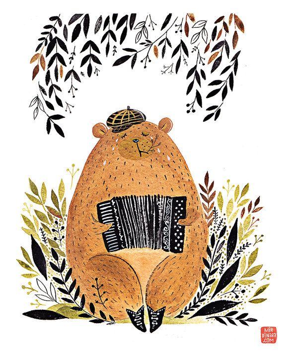 Ours de tirage d'art jouant accordéon par MirDinara sur Etsy
