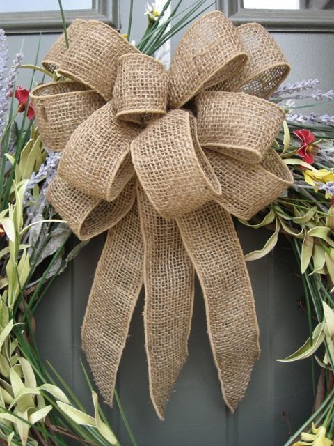 "9"" burlap wreath bow rustic wedding ribbon country reception chair sash wreath gift topper bride groom engagement party bridal shower cabin. $10.00, via Etsy."