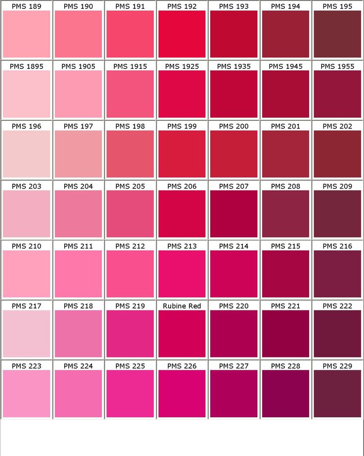 I like the top row of this color chart. PMS 189 to PMS 194.