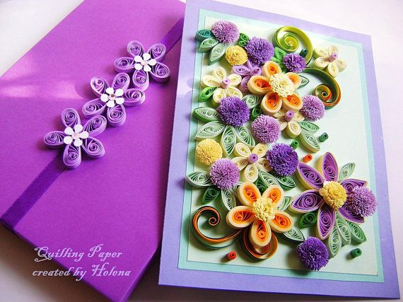 Greeting card in a box. Perfect greeting card for various occasions like Mothers Day, Birthday, Congratulations or a simple . Size: 210 mm ˣ 150 mm Designed to sit vertically. The card is packaged carefully to ensure a safe delivery. I ship the quilling cards with tracking number for