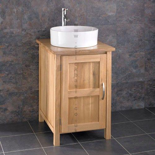 Ohio Solid Oak Bathroom Basin Cabinet Open