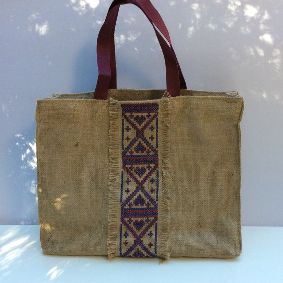 Burlap tote bag cross stitched  with tribal pattern by by Apopsis