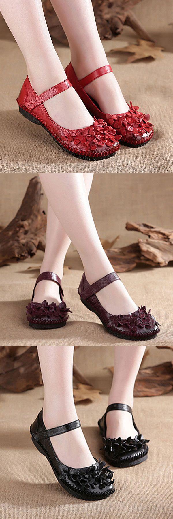 US$32.59  SOCOFY Flower Vintage Soft Genuine Leather Flat Shoes