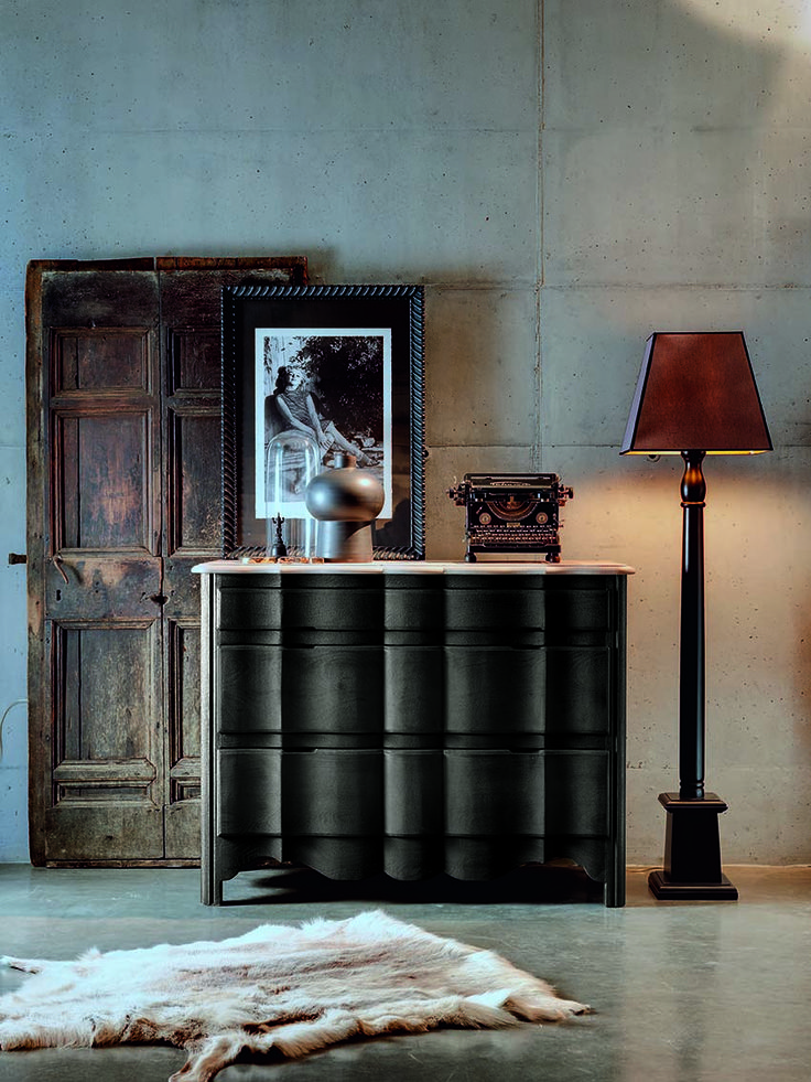 MN314 dresser in two colors black and taupe. 100% hand made in Italy www.marchettimaison.com