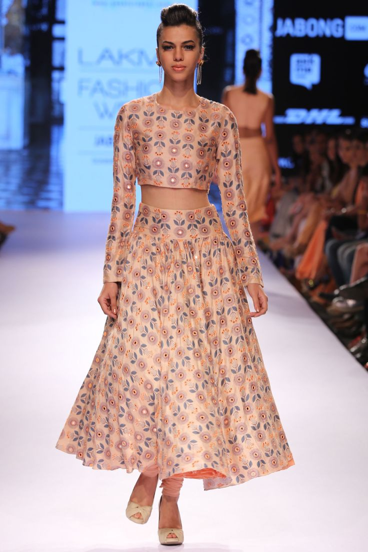 Blush floral printed embroidered choli with churidaar skirt available only at Pernia's Pop-Up Shop.