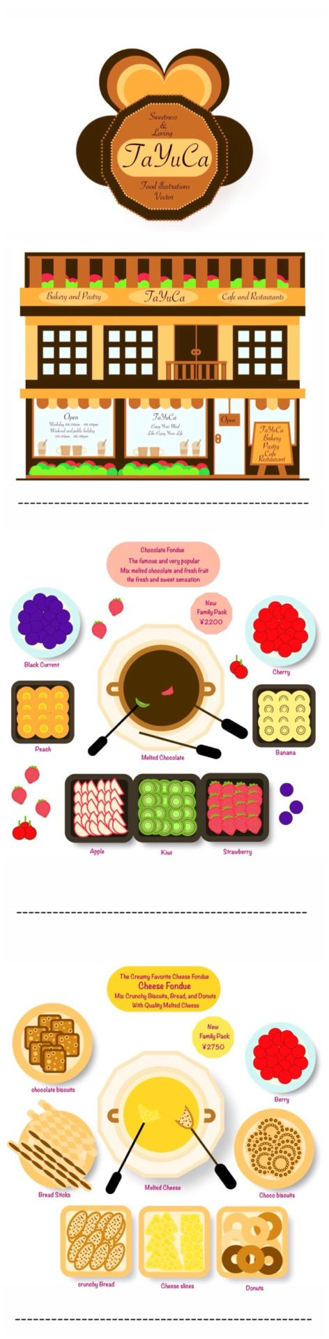 TaYuCa Vector Food Illustrations — The most favorite and famous fondue ✌️I get...