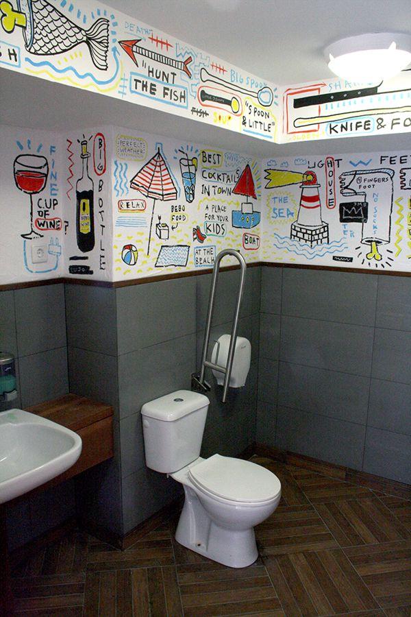 Mauro Bonillo: Restaurant Toilets Illustration (Illustration, Painting)