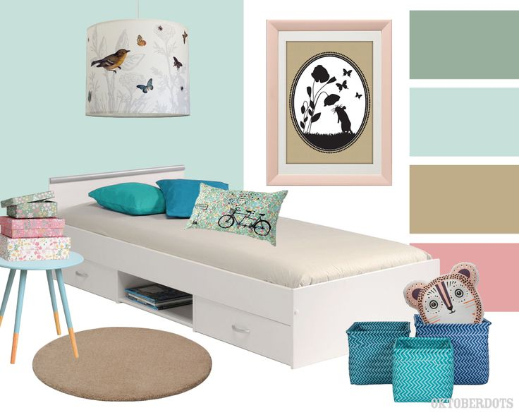 Super sweet pastel girls kids room collage with color scheme by Oktoberdots