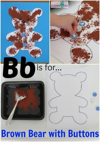 Bb is for Brown Bear with Buttons Free Printable Teddy Bear Template