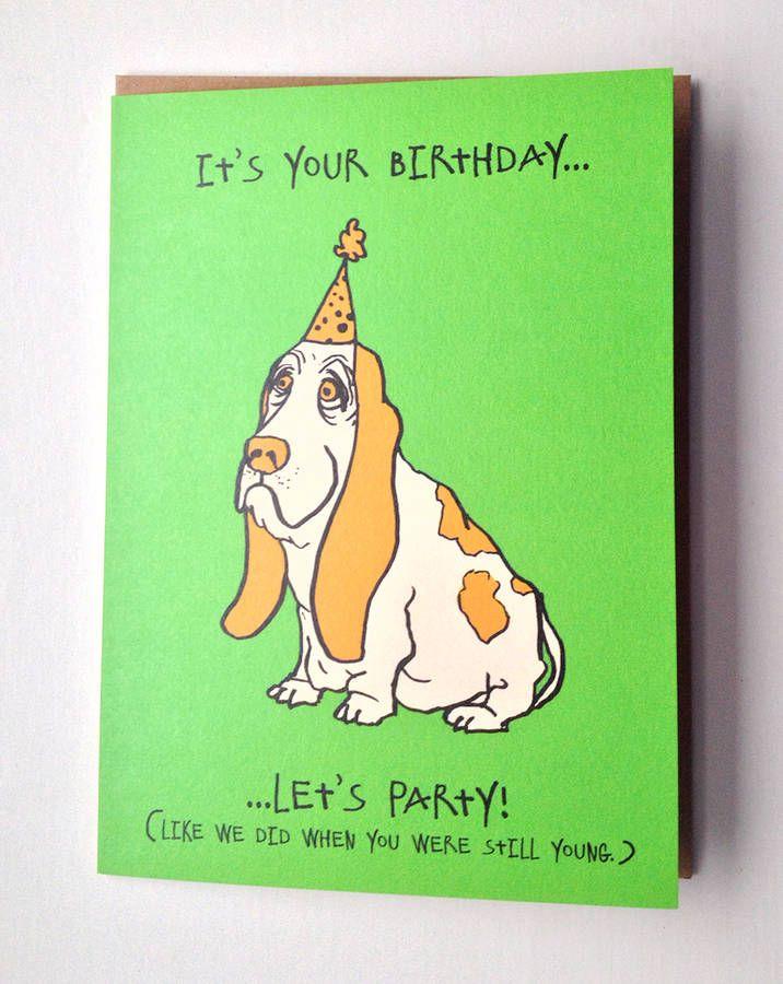 """""""Let's Party! Birthday Card by CARDINKY"""". A humorous card. Digitally printed in UK, on a luxurious 350gsm heavyweight card sustainably sourced and ecologically produced within the boundaries of the Cumbrian National Park. It's eco-friendly [Size: 13.8cm x 17.8cm greeting card.]."""