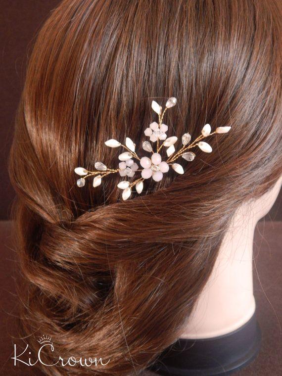 Marfil pin boda horquillas novia pelo pasadores oro por KiCrown