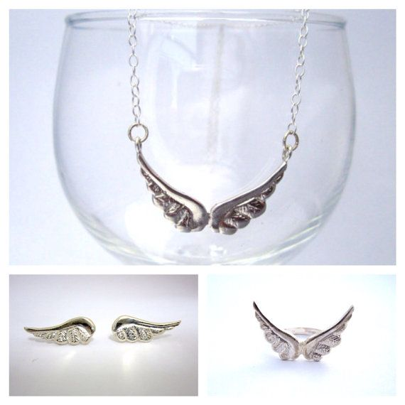 Angel wing set silver angel wing silver sterling angel wing ang