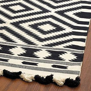 Nice and New: Ballard Designs Elina Dhurrie Rug - pattern for ottoman