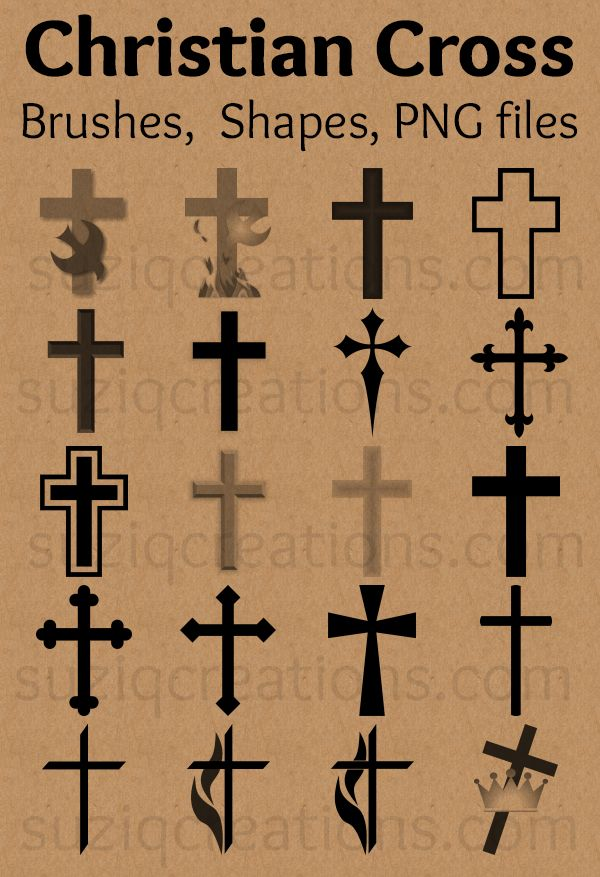 Download a set of free Christian cross symbols as vector shapes and brush presets for Photoshop, Photoshop Elements, and other graphics software.