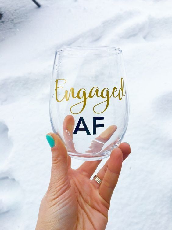 Engaged AF Wine Glass  Perfect gift for your newly engaged girlfriend or for yourself! Customize the word engaged in a wide variety of options. Always handmade in Oregon and using American Made Products! Support small business and local.