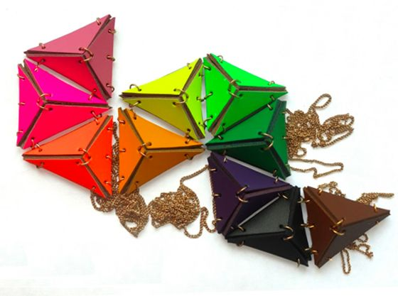 color color color.Colors Colors, Triangles Necklaces, Leather Pendants, Triangles Leather, Happy Colors, Triangles Pendants, Leather Triangles, Leather Necklace, Eaburn Jewellery