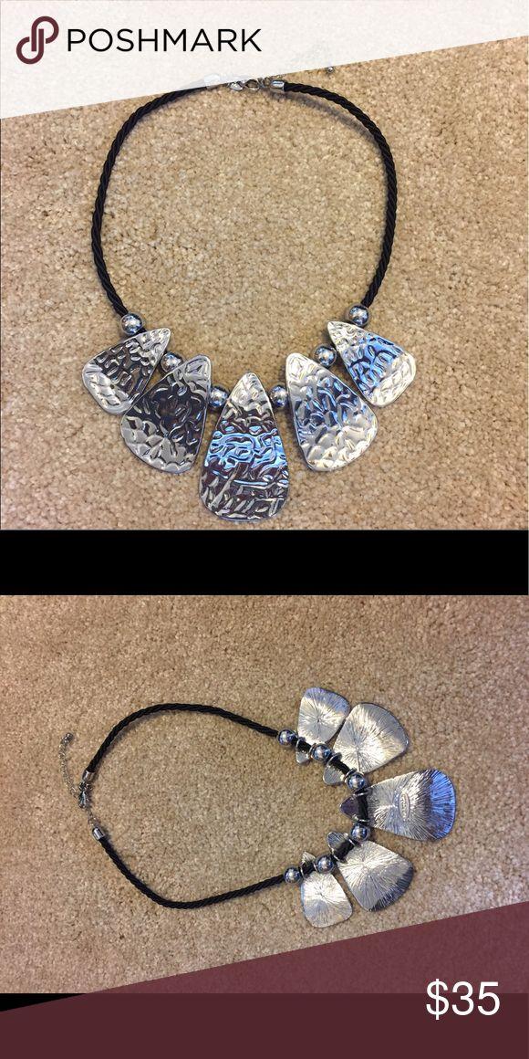 Lia Sophia Lure Me Necklaces Silver tone on black cord chain. Lia Sophia Jewelry Necklaces