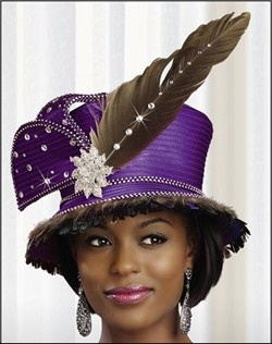 Beautiful First Lady Church Hat in Satin and Feathers