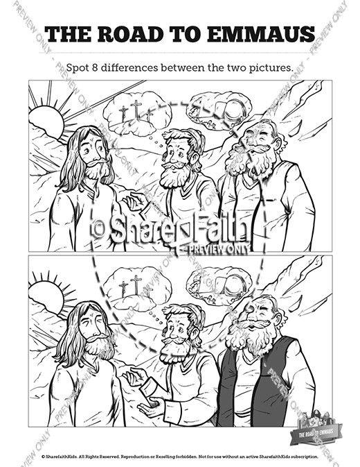 Luke 24 Road To Emmaus Kids Spot The Difference Sunday School
