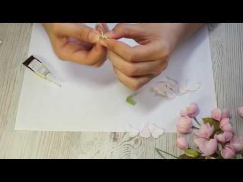 Как сделать цветы яблони из фоамирана (раскрытый цветок) | яблоня из фома - YouTube
