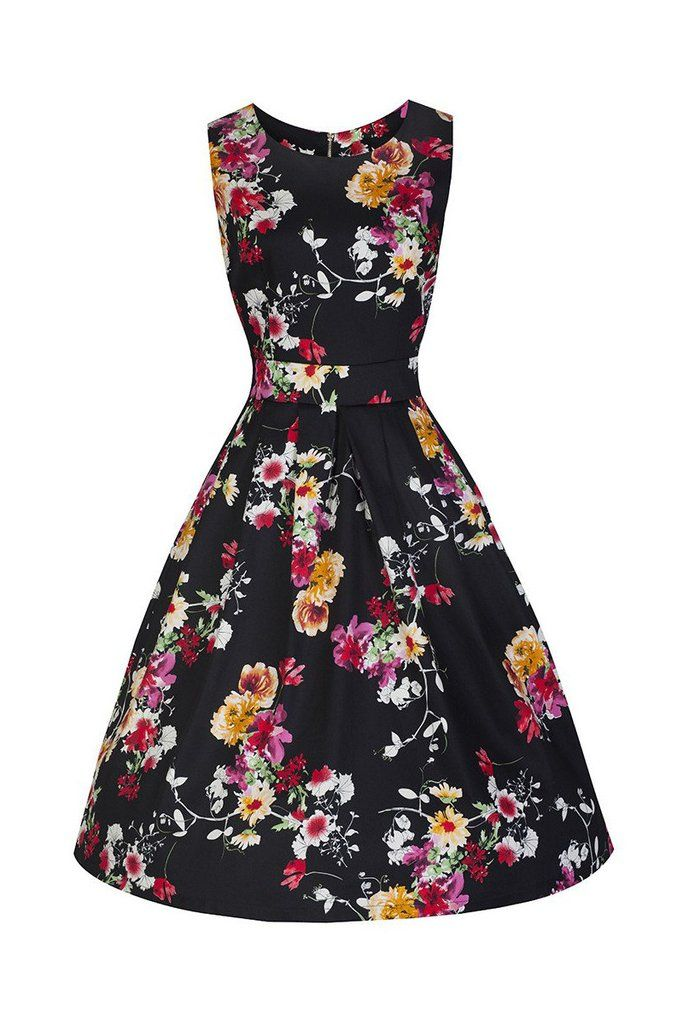 Black Floral Audrey Swing Dress
