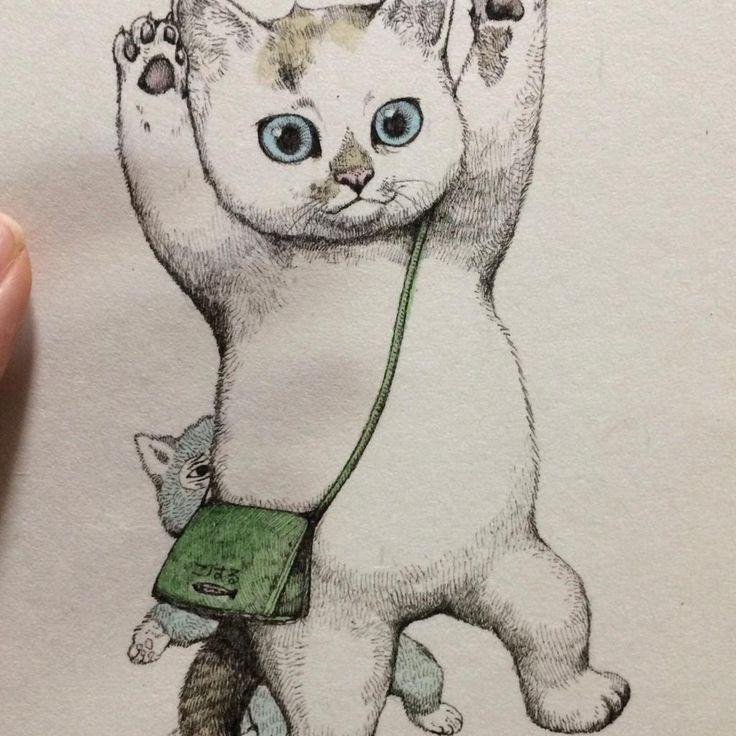 By Yuko Higuchi - cute cat #illustration
