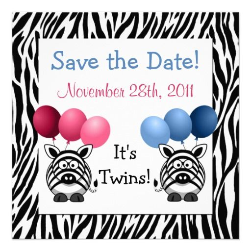 twins baby shower save the date card fraternal twins twin baby showers