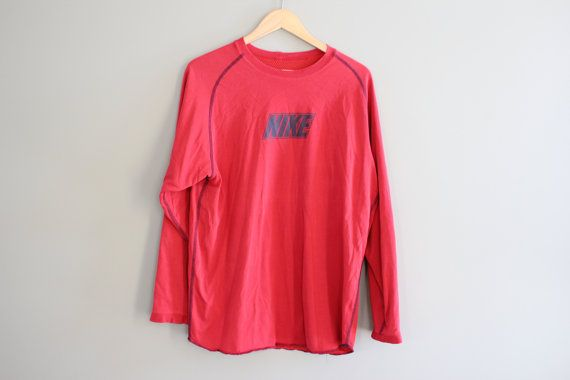 Nike T-shirt Nike Sweatshirt Red Oversized Pullover by Amilialia