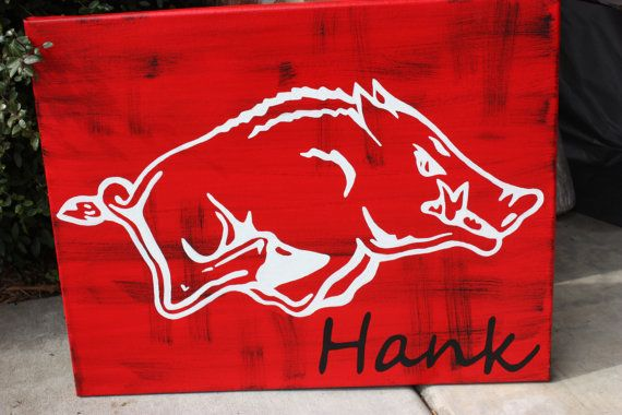 Personalized Razorback Canvas Painting 16 x 20 inches Teacher Kid's Room. $35.00, via Etsy.