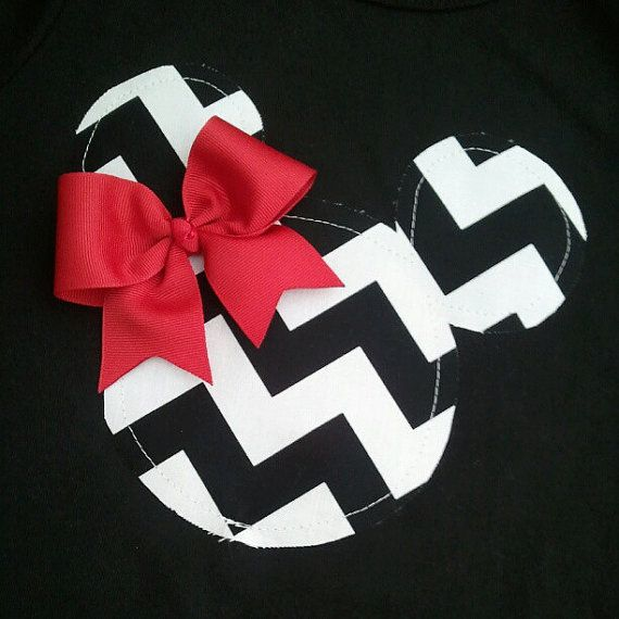 380 best disney shirts clothes etc images on pinterest minnie minnie mouse do it yourself diy iron on black and white chevron red bow solutioingenieria Gallery