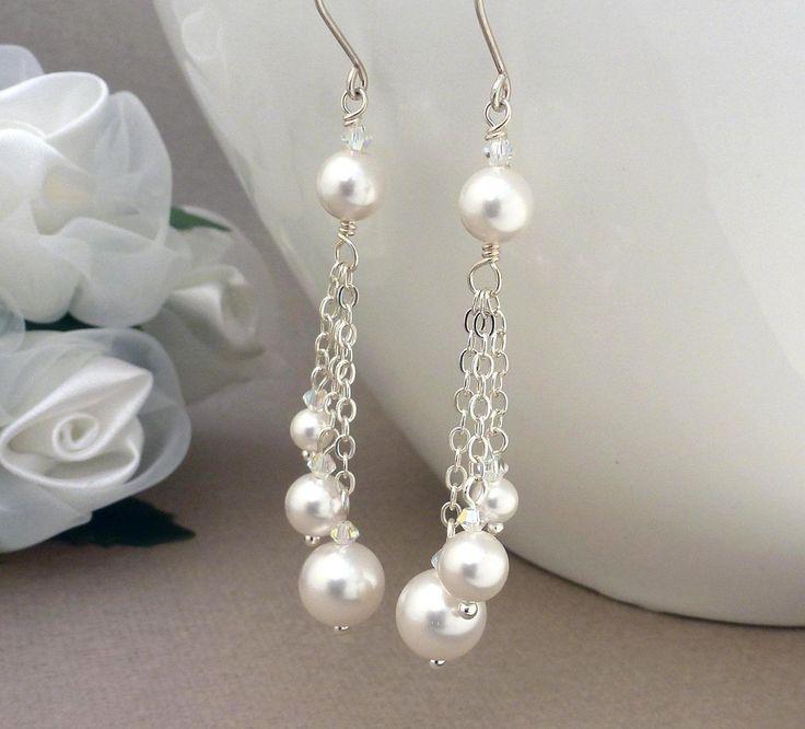 Long white pearl earrings pearl wedding by CreativityJewellery
