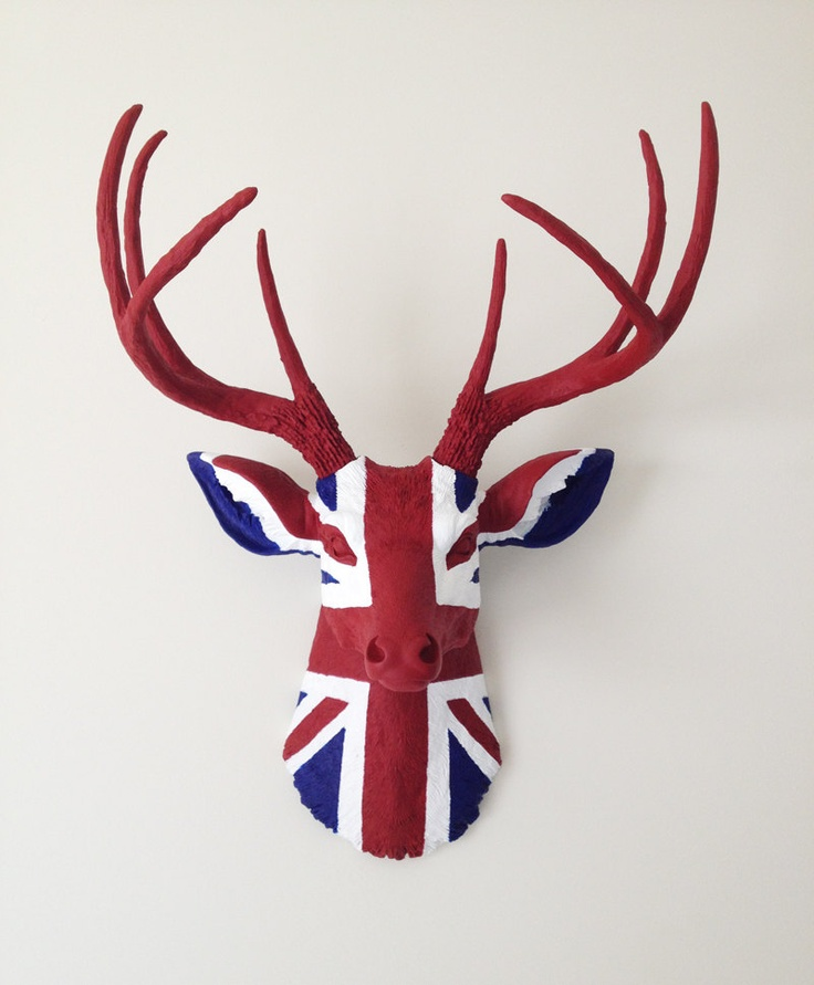#Texas #Artisan made @BananaTreeStudios UNION JACK Deer Head Wall Mount. $340.00, via @Etsy