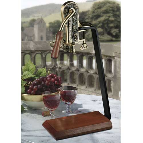Rogar Champion Wine Opener Set w/ Stand - Pewter & Hardwood