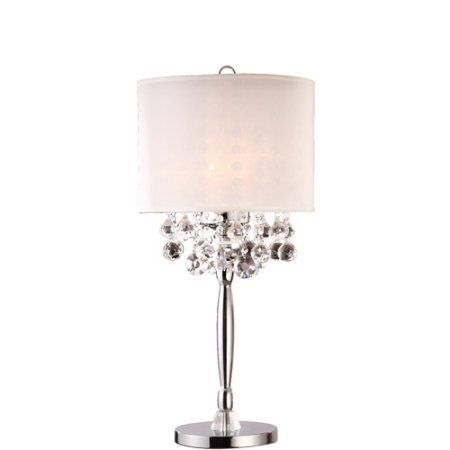 Ore International Inc. Crystal Silver Table Lamp, Gray