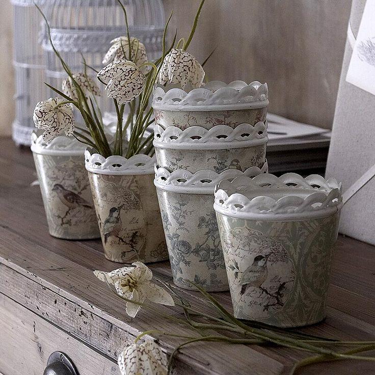 toile buckets  -- not peat pots, but peat pot inspiration!