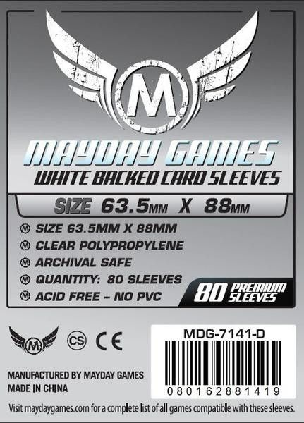 PREMIUM Mayday 63.5 x 88mm Gray Backed Card Sleeves (set of 80)