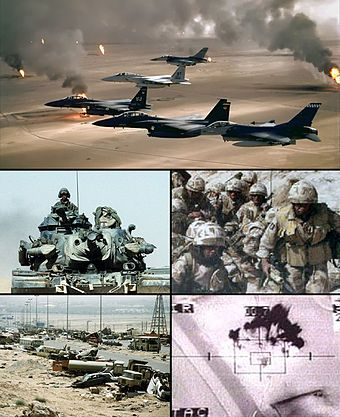 Gulf War Photobox.jpg-The Gulf War (2 August 1990 – 28 February 1991), codenamed Operation Desert Shield (2 August 1990 – 17 January 1991) for operations leading to the buildup of troops and defense of Saudi Arabia and Operation Desert Storm (17 January 1991 – 28 February 1991) in its combat phase, was a war waged by coalition forces from 34 nations led by the United States against Iraq in response to Iraq's invasion and annexation of Kuwait