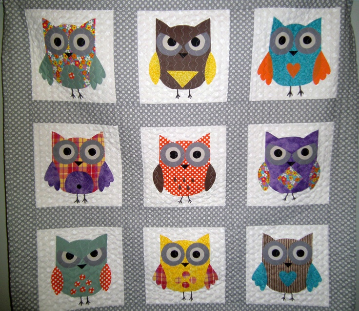 Free Quilt Pattern For Owls : Baby Owl Quilt, Baby Quilt, Owl Quilt, Owls, Gray Quilt , Baby Shower Gift (Ready to Ship) - by ...