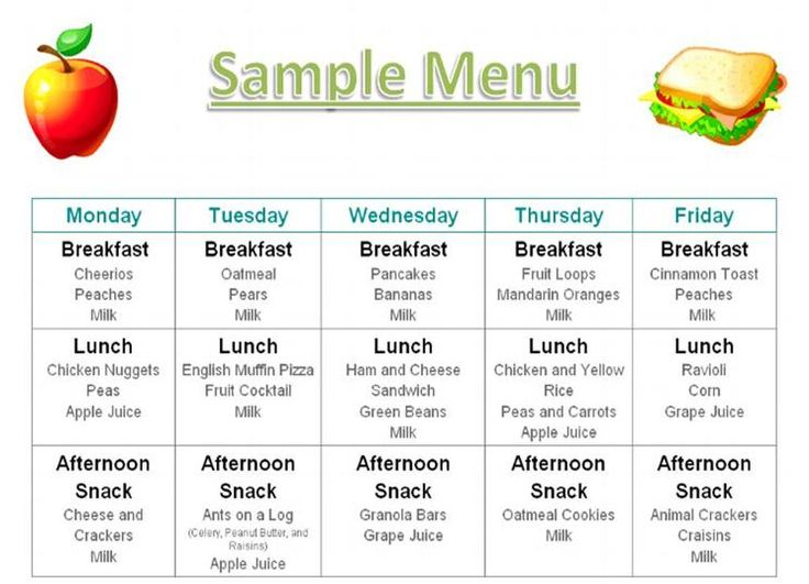 adult care daily menu calendar