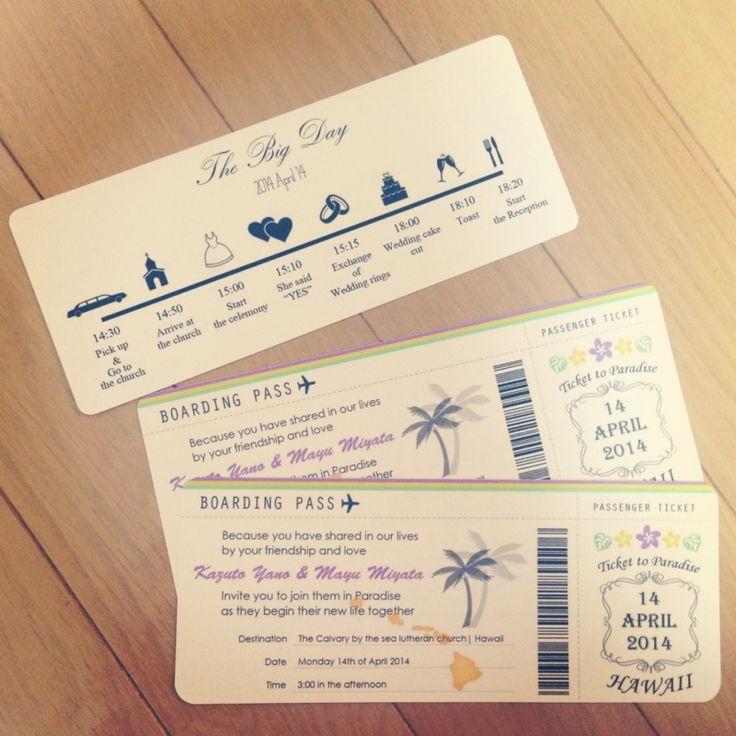 「 ボーディングパス風招待状印刷 」の画像|MAYU'S Hawaii Wedding & After Party Note|Ameba (アメーバ)