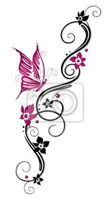 """Papier peint """"papil lon, fleurir, fleurir - ranke, flore, fleurs, papillons, noir, rose"""" ✓ Un large choix de matériaux ✓ Impression écologique 100% ✓ Regardez des opinions de nos clients !"""