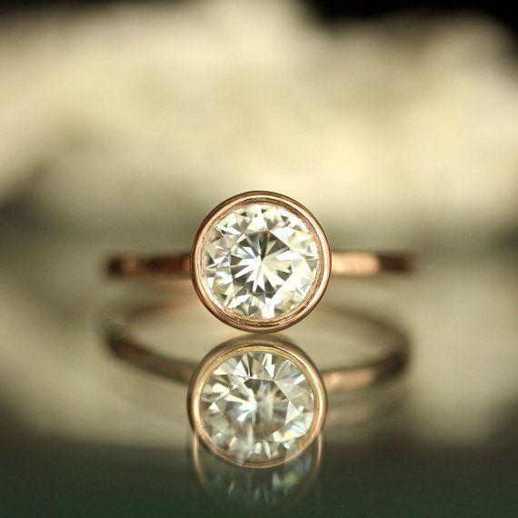 6 5mm Forever Brilliant Moissanite 14K Rose Gold Engagement Ring Stacking Ri