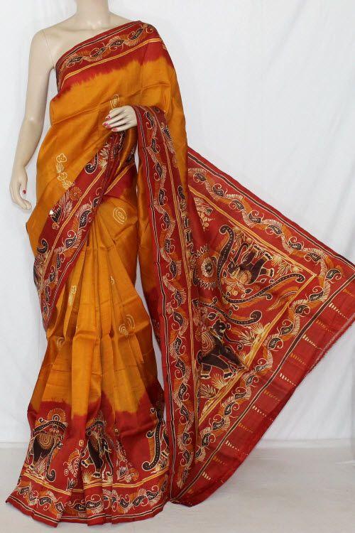 Mutared Double Knitted Murshidabadi Pure Silk Batik Hand Print Saree (With Blouse) 13816