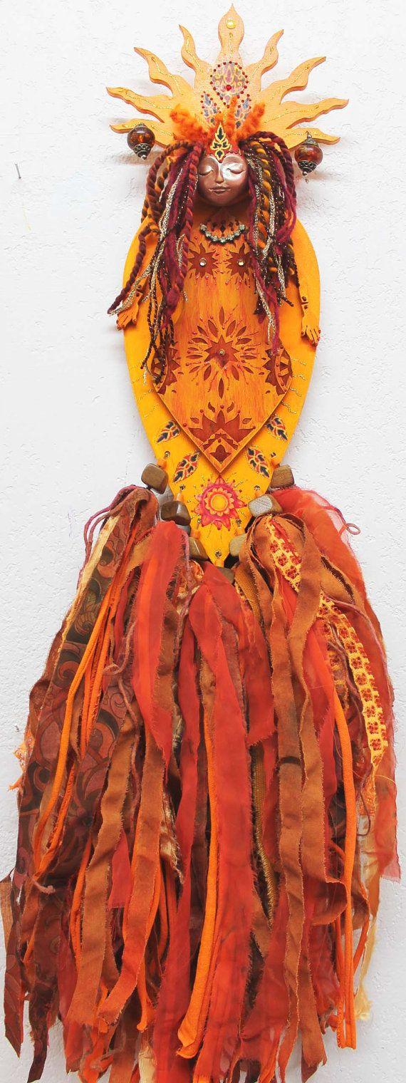 Sun Goddess, bright yellow burnt orange colored sun, Sunshine art doll on Etsy, $136.27 CAD