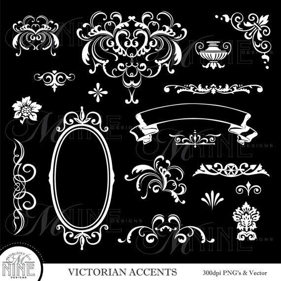 WHITE VICTORIAN ACCENTS Digital Clipart Set *Great for use on greeting  cards, invitations,